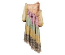 Seidenkleid 'Carnaby Frill Swing' mit floralem Print und Rüschen Multi