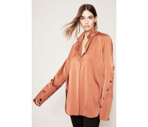 Seiden-Bluse 'Explosive Sleeve Placket Top' Toffee Gold