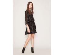 Kleid mit Polka-Dots 'Monette Georgette' Schwarz/Weiß