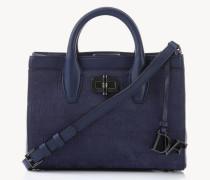 Strukturierte Velousleder-Handtasche 'Gallery Mini' Blau