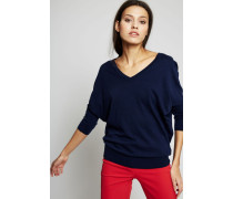 Leichter V-Neck Pullover Marineblau