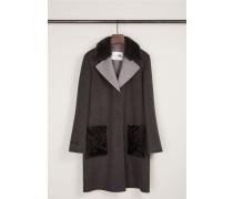 Feiner Cashmere-Woll-Mantel mit Nerz-Kragen Anthrazit