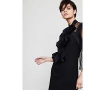 Woll-Kleid mit Netz-und Schleifendetails Schwarz