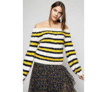 Off Shoulder Pullover 'The Julliard Mohair' block Color