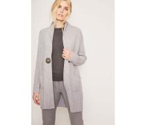 Cashmere-Cardigan mit großem Knopf Grau