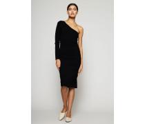 Mini-Kleid 'One Shoulder Knit' Schwarz