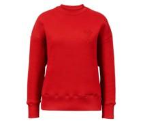 Baumwoll-Sweatshirt mit roter Logo-Stickerei