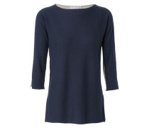 Two-Tone-Cashmere-Pullover Navy/Grau