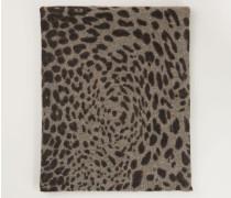 Cashmereschal mit Leo-Muster 'Jojo' Taupe Jaguar