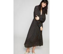 Gepunktetes Seiden-Kleid 'Crosby' Navy