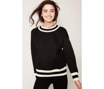 Sweatshirt mit Strickdetails Schwarz