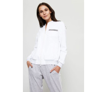 Sweatshirt-Jacke mit Perlenverzierung Weiß