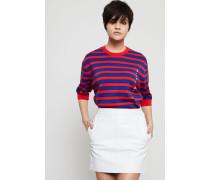 Gestreiftes Baumwoll-T-Shirt Rot/Blau