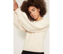 Cashmere-Pullover mit Puffärmel Beige