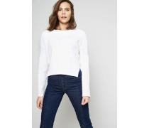 Asymmetrischer Woll-Pullover Créme