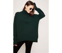 Woll-Cashmere-Pullover mit Rollkragen und abgerundetem Saum Grün