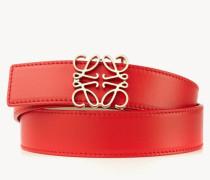 Leder-Gürtel mit Logo-Schließe Rot