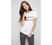 T-Shirt mit Perlen-Verzierung Weiß