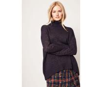 Lurex-Pullover mit Rollkragen Marinebau/Kupfer