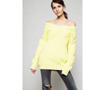 Oversized V-Neck Pullover Gelb