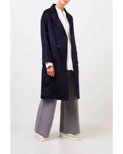 Cashmere-Mantel mit Bindedetail Marineblau