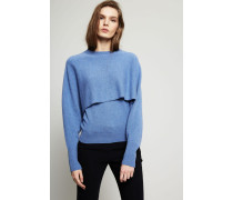 Zweilagiger Cashmere Pullover Blau