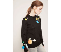 Lurex-Pullover mit Applikationen Schwarz