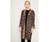 Woll-Cashmere-Mantel 'Gwyneth' Jaguarprint Taupe