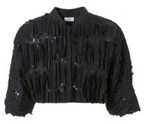 Seiden-Jacke mit Verzierung Schwarz