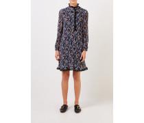 Plissee-Kleid mit floralem Print Blau/Multi