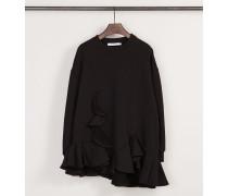 Oversize-Pullover mit Volants Schwarz