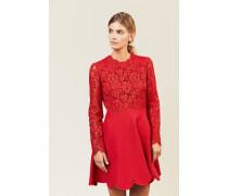 Woll-Seiden-Kleid mit Spitze Rot