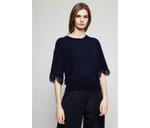 Wollpullover mit Spitzen-Details Marineblau