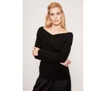 Cashmere-Pullover mit drapierter Front Schwarz