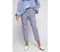 Gemusterte Baumwollhose Blau/Weiß