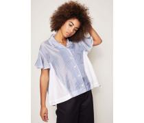 Gestreifte Bluse mit Volants Weiß/Blau