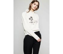 Kapuzen-Pullover mit Print Beige