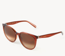 Sonnenbrille 'Thin Mary' Transparent Rot