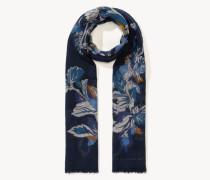 Feines Tuch mit floralem Print Blau/Multi