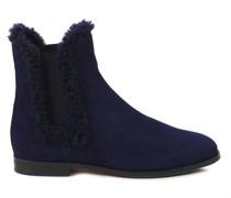 Veloursleder-Chelsea-Boots Marineblau