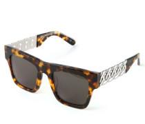 Eckige Sonnenbrille mit Ketten-Details Braun