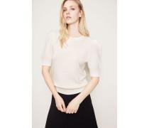 Cashmere-Pullover kurze Puff-Ärmel Crème