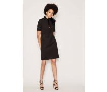 Kleid mit Volants-Details am Kragen Schwarz