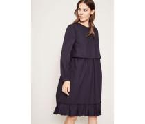 Popeline-Kleid mit Volant-Saum Marineblau