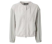 Leder-Jacke mit Woll-Ärmeln Grau