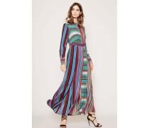 Langes Seiden-Blusenkleid mit Streifenmuster Multi