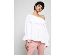 Off-Shoulder Bluse mit Volants Weiß
