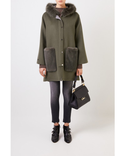 Woll-Cashmere-Mantel mit Nerzbesatz Grün