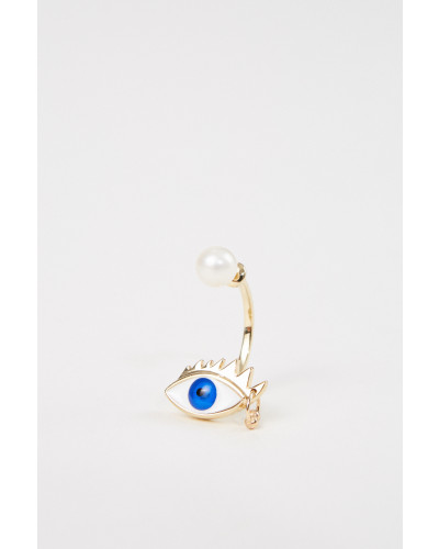 Ohrring 'Eye Piercing' Gold/Blau