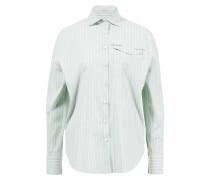 Gestreifte Bluse mit Brusttasche /Weiß